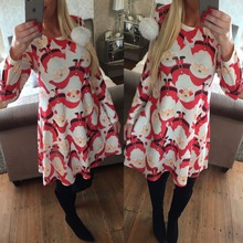 2017 new hotsale fashion women dress Christmas old man snowflakes print dress happy gift for women girl