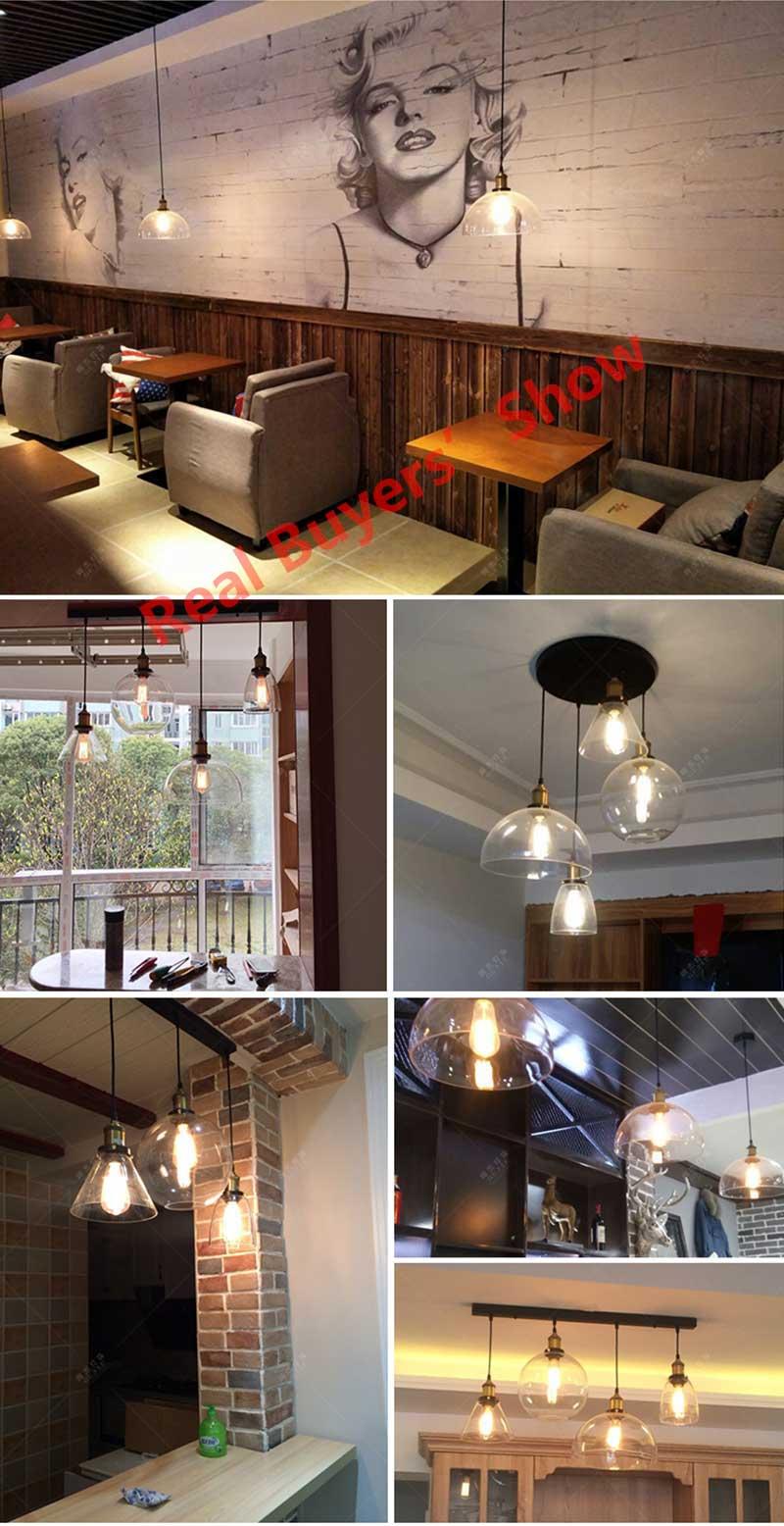 Loft RH Vintage Pendant Lights Glass Industrial Pendant Lamps Metal Retro Lustres Hanging Fixtures luminaire suspendu E27 D98 2