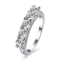 4 zircon wedding bands for lover women fashion eternity rings 2017 factory wholesale drop shipping silver color finger rings(China)