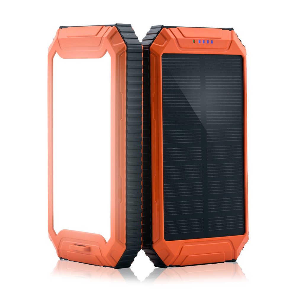 PowerGreen Solar Pocket Charger 10000mah LED Light Solar Power Bank Mini Mono Solar Panel Phone