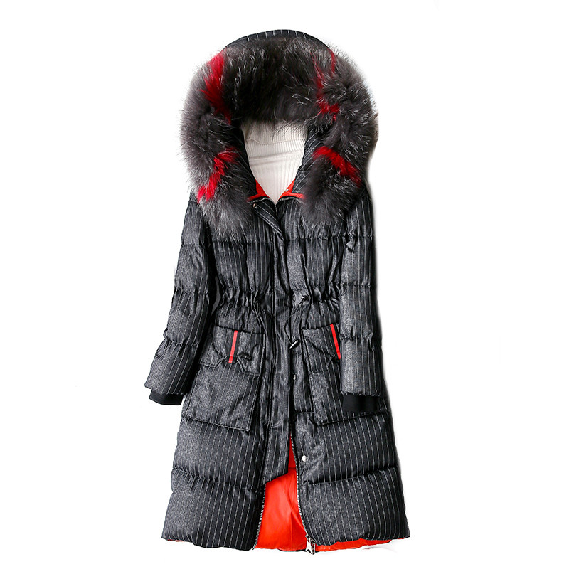 2018 Winter Women Jacket Medium Long Section Thick Warm Overcoat Stripe Hooded Outerwear Elegant Coat Large Size 5XL Down Parkas