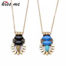 KISS ME Retro Style Jewelry Created Gemstone Insect Thin Chian Long Pendant Necklace Fashion Bijoux for Women