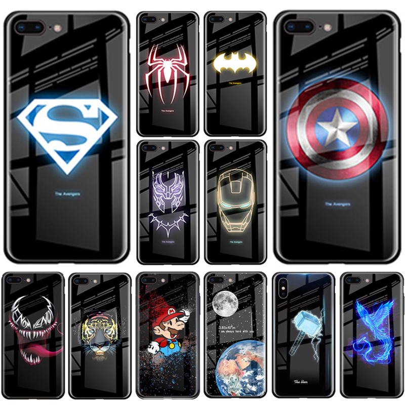 Luxury Batman Marvel Luminous Tempered Glass Cases For iPhone XS MAX XR 8 7 6 6s Plus X Samsung S8 S9 S10 Plus Note8 Note9 Cover(China)