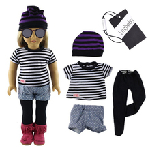 Fashion For 18 Inch American Girl Clothing Hat T-shirt Short Trouser 4pcs Set Children's DIY Doll Dress Up Suit ingbaby WJ1038