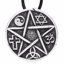 All Gods are the same God Pentacle Pendant Necklace Om Yingyang Taichi Necklaces Pendants Amulet Talisman Jewery Lead Free(China)