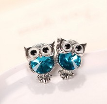 Fashion Cute Charm Crystal Rhinestone Owl Stud Earrings For Woman Girl Animal Statement Jewelry(China)