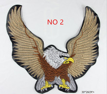 Wholesale 5pcs Brand Motorcycle Eagle Patch Embroidered Iron Garment Bag Badge Appliques DIY Accessory Patch 27.7*17cm Patch