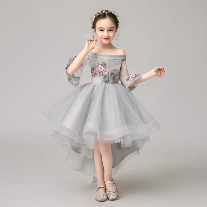 2019Spring Luxury New Children Girls Shoulderless Collar Evening Birthday Party Tail Dress Kids Infant Model Show Costume Dress