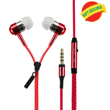 Factory wholesales Metal Zipper Earphones 3.5mm in-ear earphone with mic for Iphone 4s 5 5s ipad 2 3 4 samsung S5 S6