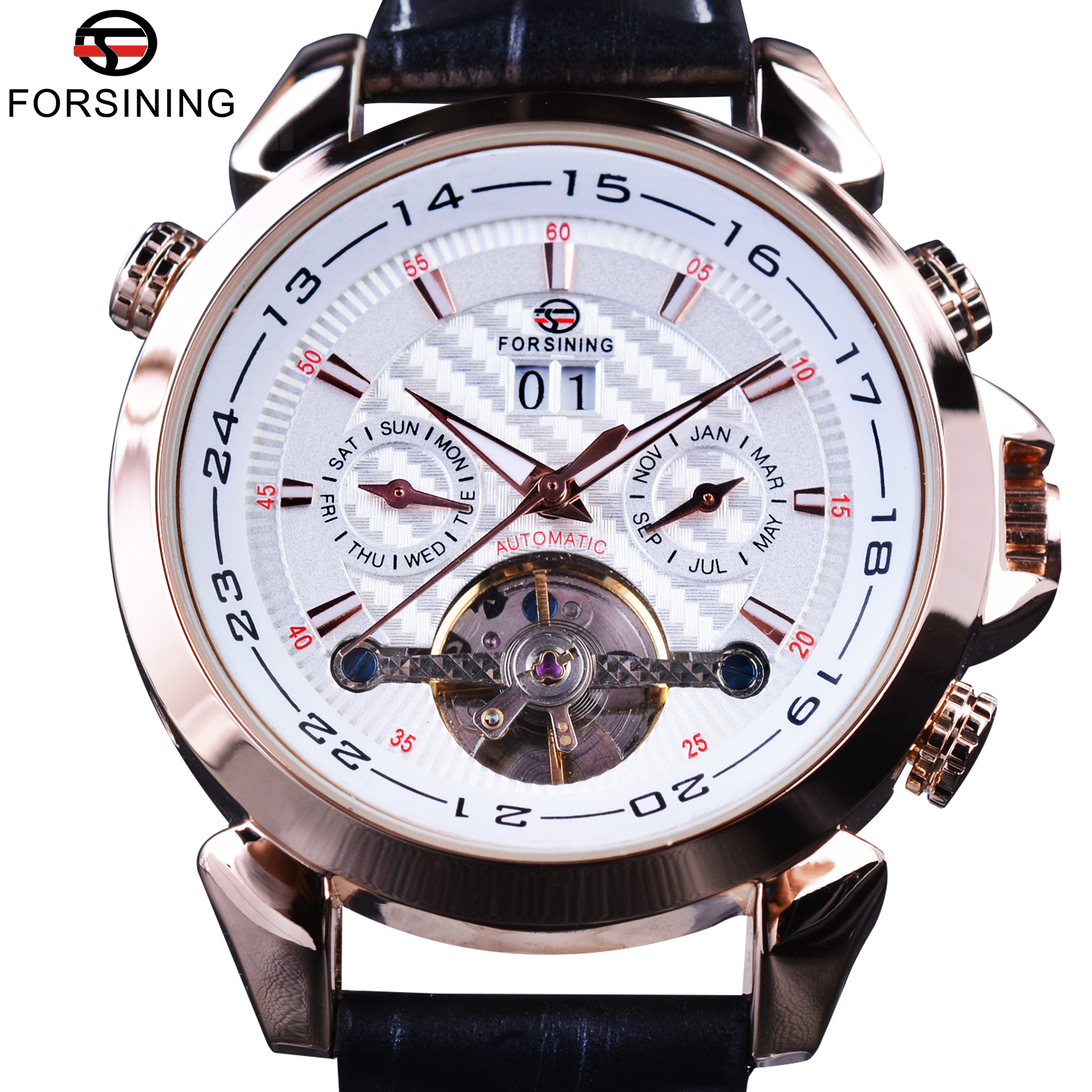 Forsining 2017 Swallow Gird Weave Dial Rose Golden Case Genuine Leather Clock Mens Watches Top Brand Luxury Automatic Watches<br>