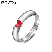 EnFashion red heart ring love finger couple rings silver color rings for women wedding ring stainless steel jewelry wholesale
