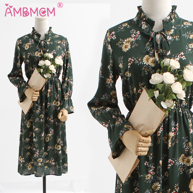 Fashion Brand Women Dresses Flare Long Sleeve Floral Print Vintage Dresses Party Autumn Long Dress Vestidos Lady Dress AMBMCM