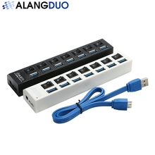 ALANGDUO 7 Port USB 3.0 Hub 5Gbps USB Port Portable USB Splitter with On Off Switch for Laptop PC Tablet