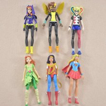 6pcs a set DC Super Hero Girls wonder woman Batgirl Poison Ivy Bumble Bee Harley Quinn Action figure Doll Toy