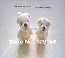 H-4cm cream white  lovely Mini Stuffed Jointed Bear Gift Flower Packing Teddy Bear 100pcs/lot
