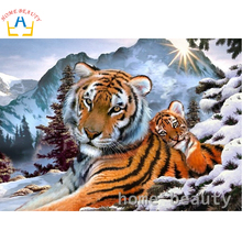 Diy oil painting by numbers canvas acrylic wall painting calligraphy children oil coloring paint by number snow tigers Y073