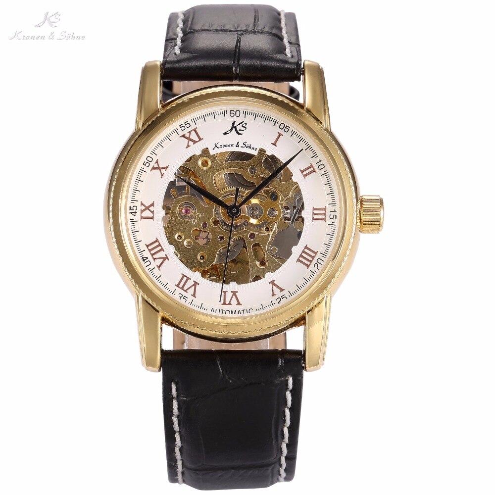 New Luxury KS White Skeleton Steampunk Dial Automatic Mechanical Self Wind Black Leather Strap Men Male Dress Wrist Watch /KS031<br>