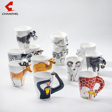 2017 Festival gift Ceramic coffee milk tea mug 3D animal shape Hand painted Deer Giraffe Cow Monkey Dog Cat Camel Elephant cup(China)
