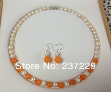 "Wholesale price -hot a 8-9MM White Akoya Cultured Pearl/Orange stone necklace earrings set 18""No box new"