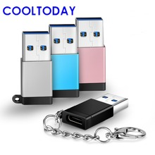COOLTODAY Type C OTG Adapter Type C Female USB 3.0 Male Data Sync Converter USB C Cable Macbook PC Flash Drive HDD Laptop