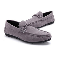 Size 39-44 Artificial Suede Men Flats Shoes Soft  Breathable Mesh Loafers Slip on Classical Moccasins Non-Slip Driving Shoes