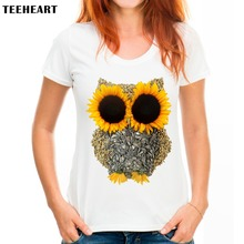 TEEHEART Korean Style Tops T Shirt Daisy Owl Pattern Designer Fashion Women's Clothing PX052(China)