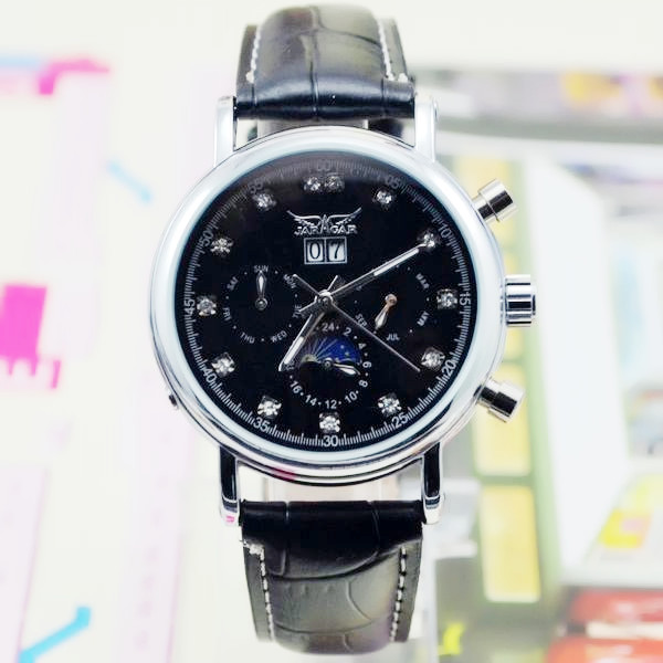 JARAGAR Womens 6 Hands Flywheel Auto Mechanical Moonshape Calendar Display Wrist Watch <br>