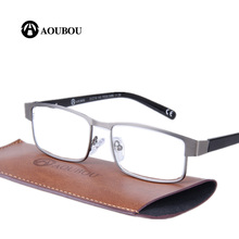 AOUBOU Brand Retro Reading Glasses Men 2.0 2.5 Anti-fatigue Stainless Steel Spring Hinges Frame Glasses Gafas De Lectura AB001(China)