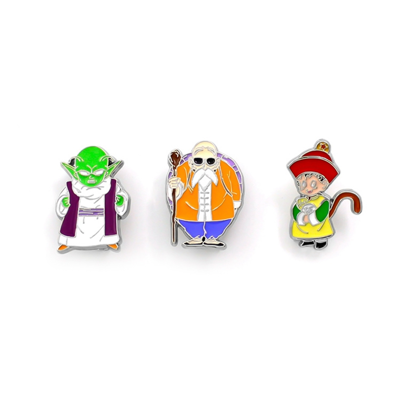 Dragon Ball Son Goku Metal Pin Master Roshi Brooches Cartoon Funny Brooch Backpack Pins Clothes Badge Jewelry