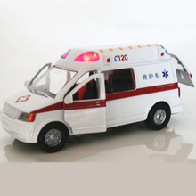 White Ambulance Medical vehicles Toys 1/32 Alloy Pull Back Diecast Car Model with Light and Sound(China)