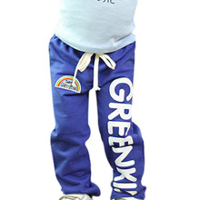 Child Kids Baby Boys Long Pants Trousers Casual Rainbow Pattern Cotton Bottoms 2-6Y Hot