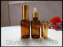 15ML Glass Purfume Bottle, Brown Color With Gold Circle And Plastic Head Dropper, Brown Color Essential Oil Bottle, 40pcs/lot