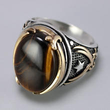 Genuine Solid 925 Silver Rings Cool Vintage Rings Natural Onyx Tiger Eye Big Turkish
