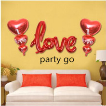 3pcs red love letters balloon Wedding party decorations Romantic heart balloon siamesed i love you foil ball married valentines(China)