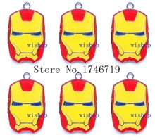 Hot Sale 10pcs Superhero Iron Man Head  Metal Charms DIY Jewelry Making  Mobile Phone Accessories For Best Gift D-128