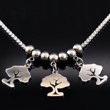 2017 Fashion Long Silver Color Tree of Life Stainless Steel Necklaces for Women Necklace & Pendants Jewelry collar mujer N74197