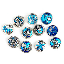 Mix Styles Navy Ocean Marine Life 18mm Snap Buttons Shell Starfish Patterns Beach Style Ginger Metal Snaps DIY Bracelet Jewelry(China)