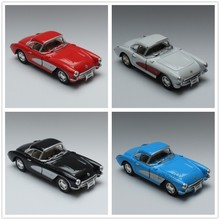 1/34 Scale Diecast Car Model Toys Classic 1957 Chevrolet Corvette Vintage Metal Pull Back Car Toy For Gift/Children
