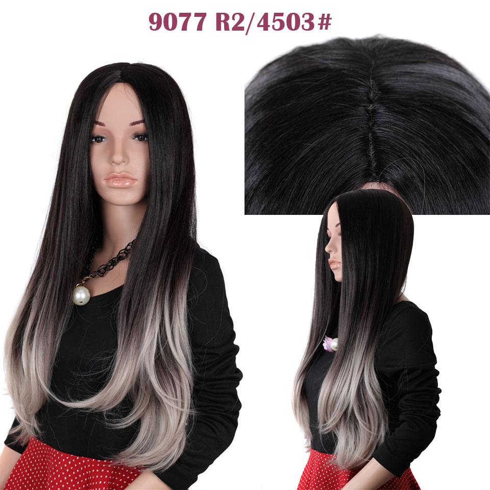 9077 Celebrity Curly Two-Tone Ombre Wig Anime Cosplay Synthetic Wigs for African American Black Women<br><br>Aliexpress