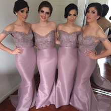 Sexy Bridesmaid Dresses Lavender Satin Applique Beaded Sweep Train Bridesmaid Gown Off -Shoulder Wedding Party Dress ZL1624