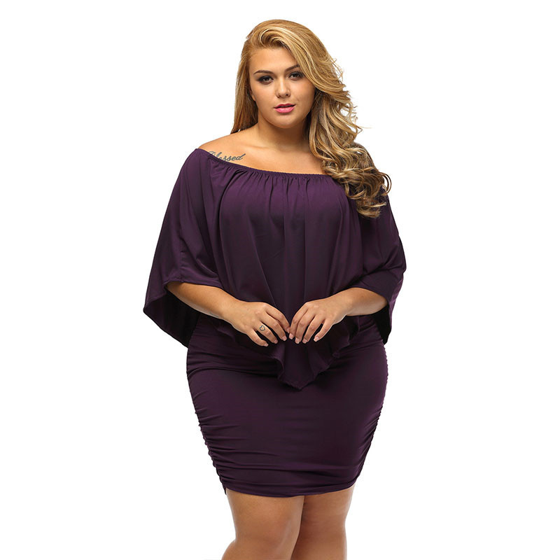 17 Women Plus Size Layered Dress Red Off Shoulder Femme Sexy Autumn Dresses Large Big Size Women Casual Mini Dress XXXL XXL 13