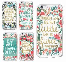 Positive Quote Eat Travel Love Floral Fashion Soft Phone Case Cover Coque Fundas For iPhone 7 7Plus 6 6S 6Plus 5 5S SE SAMSUNG