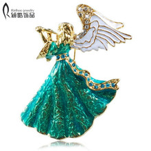 angel wings Music Angel brooch for women girl dress Accessories green & white crystal brooch rhinestone pins random color(China)