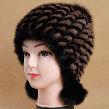 2016 Mink Fur Hat Lady Winter Mink Wool Knit Hat Youth Thick Winter Warm Earmuffs(China)