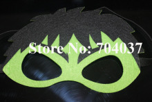 (20 pieces/lot) New birthday party supplies Kids costume felt masks Fancy Green Hulk mask