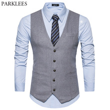 New Woolen Suit Vest Men 2018 Fashion Single Breasted Wool Vest Waistcoat Mens Slim Wedding Business Tuxedo Vests Gilet Homme(China)