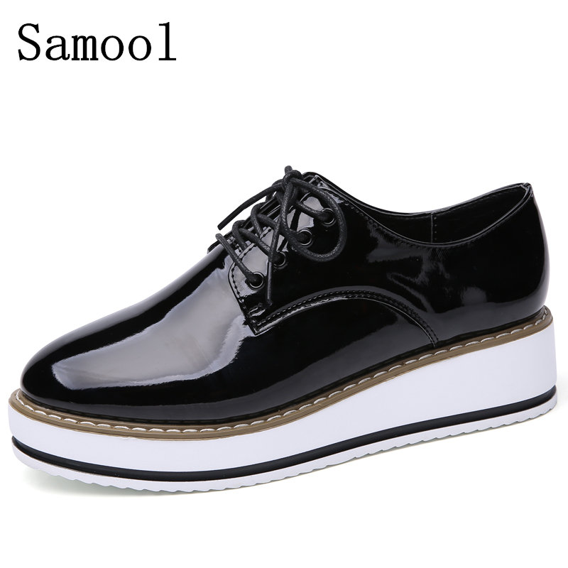 2017 Autumn Hot Sale Classic Womens Flats Round Toe Patent Leather Platform Shoes Oxford Lace Up Oxford Shoes  Brogue Shoes<br>