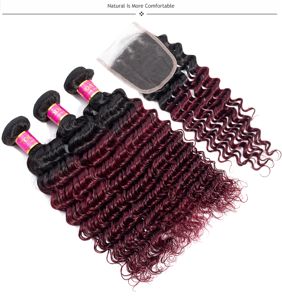 burgundy bundles with closure