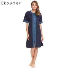 Ekouaer Casual Women Nightgown Sleepwear O-Neck Short Sleeve Nightwear  Solid Zipper Pocket Night Dress 6718714c9