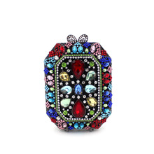 2017 new European day clutches multicolor full diamonds women bag ladies evening bags crystal drilling dress party bag purses(China)